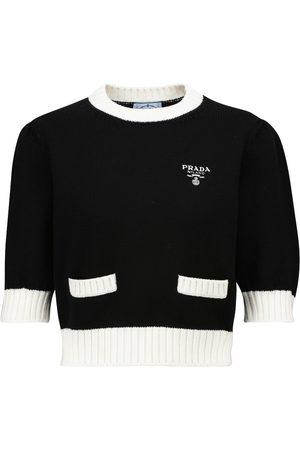 Prada Women Tops - Cropped logo virgin wool knit top