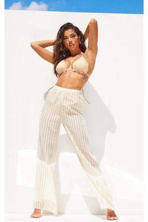 PRETTYLITTLETHING Stone Sheer Stripe Wide Leg Beach Trousers
