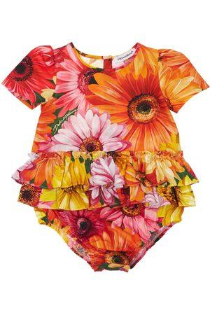 Dolce & Gabbana Girls Bodysuits & All-In-Ones - Gerbera Print Poplin Cotton Bodysuit