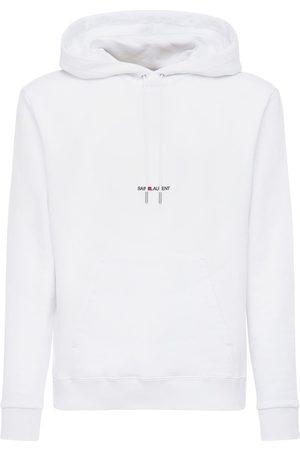 Saint Laurent Logo Detail Hooded Jersey Sweatshirt