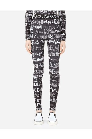 Dolce & Gabbana Trousers and Shorts - Spandex jersey leggings with DG graffiti print female 36
