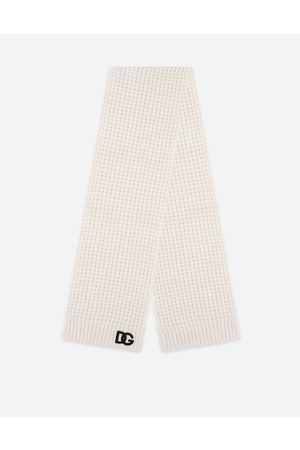 Dolce & Gabbana Accessories - Basketweave-stitch scarf with DG logo patch male S