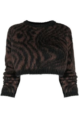 Opening Ceremony Cropped tiger-print jumper
