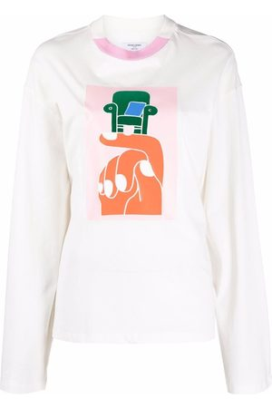 Opening Ceremony Women T-shirts - Hand chair print long sleeve T-shirt