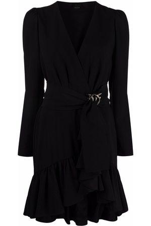 Pinko Women Evening Dresses - Belted V-neck mini dress