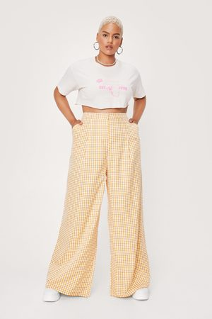 NASTY GAL Women Trousers - Womens Plus Size Check Print High Waisted trousers