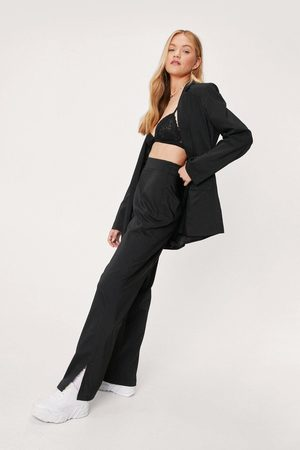 NASTY GAL Women Wide Leg Trousers - Womens Love Suits You Slit Tailored Wide-Leg Trousers