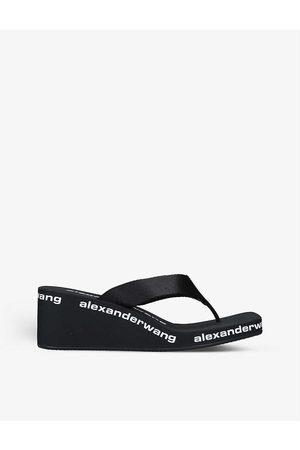 alexander wang Women Flip Flops - Logo-print two-post wedge flip-flops