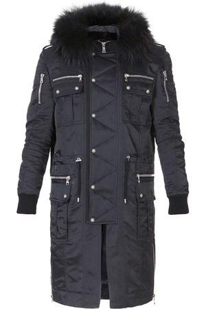 Balmain Buttoned Parka Coat With Fur Hood