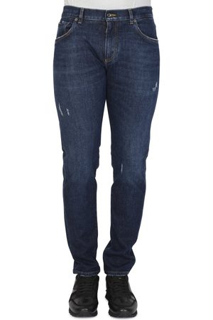 Dolce & Gabbana PLAQUE DISTRESSED JEANS