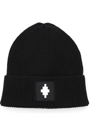 MARCELO BURLON BEANIE HAT WITH LOGO PATCH OS Wool, Technical