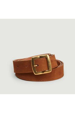 MAISON BOINET Men Belts - Nubuck leather belt 25 mm havane
