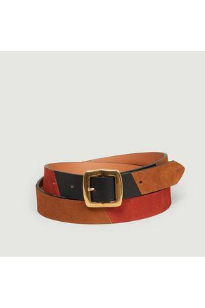 MAISON BOINET Nubuck and nappa leather belt 25 mm multi