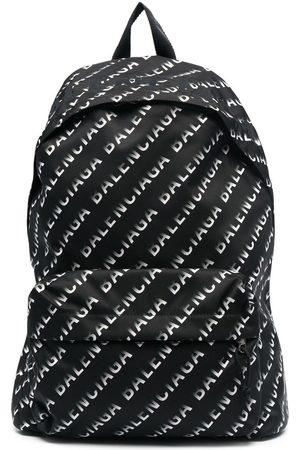 Balenciaga Wheel Logo Print Backpack Black