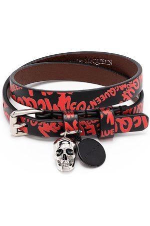 Alexander McQueen Skull Graffiti Print Bracelet /Red