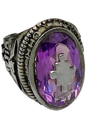 MARCELO BURLON Logo Amethyst Stone Ring /Violet