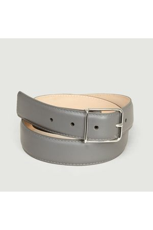 MAISON BOINET Leather Calfskin Belt Granit