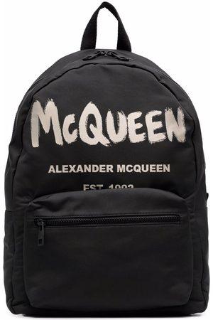 Alexander McQueen Graffiti Logo Backpack Black