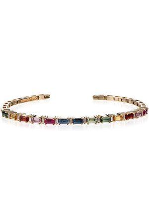 Suzanne Kalan Women Bracelets - 18K gold multicoloured diamond and sapphire bracelet - METALLIC
