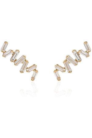 Suzanne Kalan Women Earrings - 18kt yellow gold Baguette diamond earrings - METALLIC