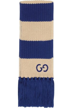 Gucci Thin striped GG-logo knitted scarf - Neutrals