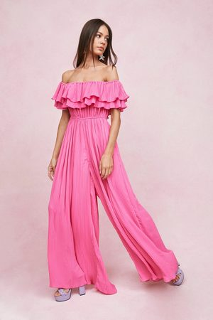 Nasty Gal Womens Pleated Off the Shoulder Wide Leg Jumpsuit