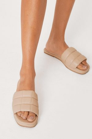 NASTY GAL Womens Faux Leather Padded Square Toe Wedges