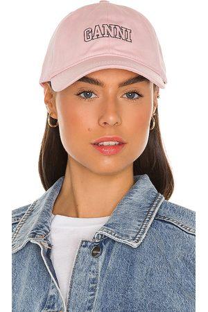 Ganni Cotton Baseball Cap in .