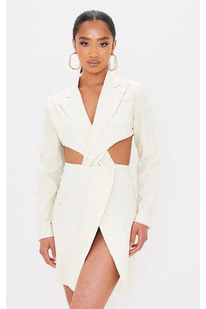 PRETTYLITTLETHING Petite Cream Twist Front Cut Out Blazer Dress