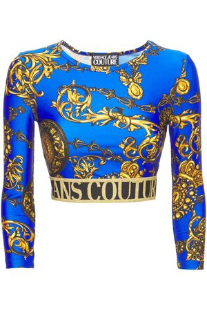 VERSACE Baroque Print Jersey Cropped Top