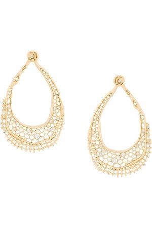 Aurelie Bidermann Women Earrings - 18kt yellow gold diamond vintage lace earrings - Metallic