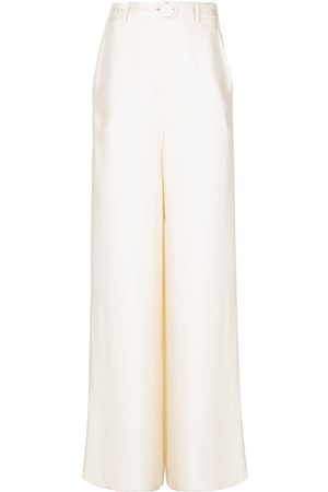 LAPOINTE Belted silk palazzo trousers