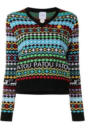 Patou Geometric-pattern V-neck jumper