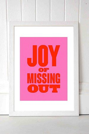 Moodstreet M00d Joy Of Missing Out Wall Art Print - White UK 3 at Urban Outfitters