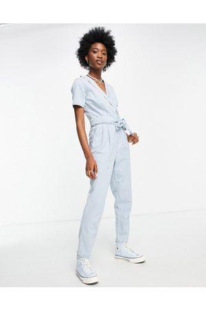 Miss Selfridge Women Jumpsuits - Denim wrap jumpsuit in
