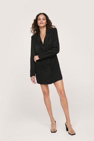 NASTY GAL Womens Shimmer Double Breasted Oversized Blazer Dress