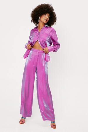 NASTY GAL Womens Satin High Waisted Wide Leg Trousers