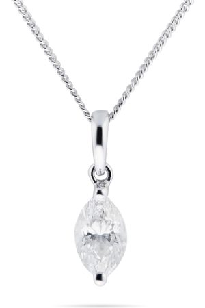GOLDSMITHS Women Necklaces - 9ct White Gold 0.30cttw Marquise Diamond Pendant