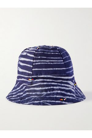 Post-imperial Men Hats - Beaded Striped Indigo-Dyed Cotton Bucket Hat