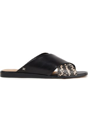 Sam Edelman Women Sandals - Woman Idina Smooth And Faux Snake-effect Leather Slides Size 10