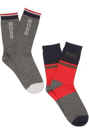 HUGO BOSS Boys Socks - Set Of 2 Logo Cotton Blend Knit Socks