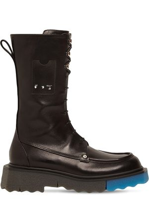 OFF-WHITE Women Boots - 40mm Leather Combat Boots