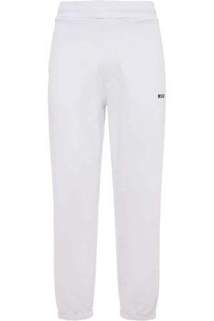 Msgm Men Trousers - Logo Print Cotton Jersey Sweatpants