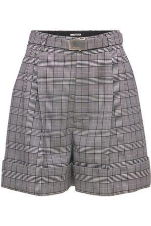 MIU MIU Women Shorts - Merino Wool Prince Of Wales Mini Shorts