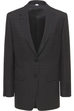 Burberry Loulou Check Wool Tailored Jacket