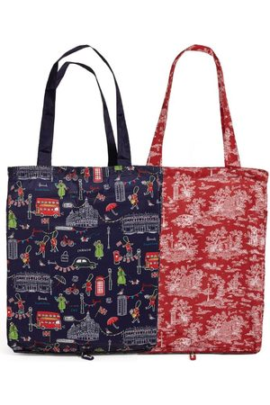 Harrods Toile and SW1 Recycled Pocket Shopper Bag (Set of 2)