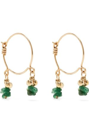 Petite Grand Women Earrings - Bella emerald hoop earrings
