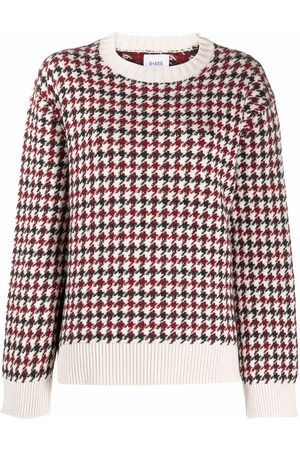 Barrie Houndstooth rib-trimmed jumper