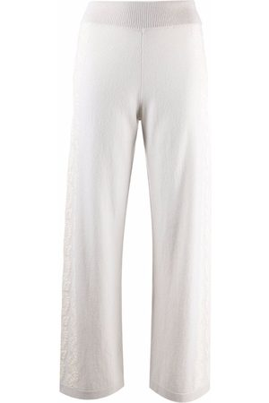 Barrie Lace-embellished straight trousers - Neutrals