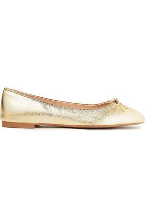 Stuart Weitzman Women Ballerinas - Woman Gabby Metallic Textured-leather Ballet Flats Size 34.5